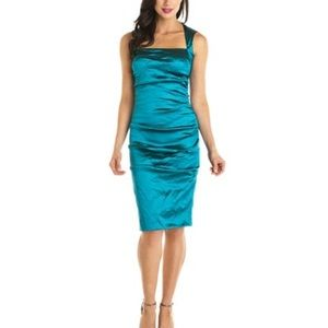 Nicole Miller crinkle techno ruched green dress